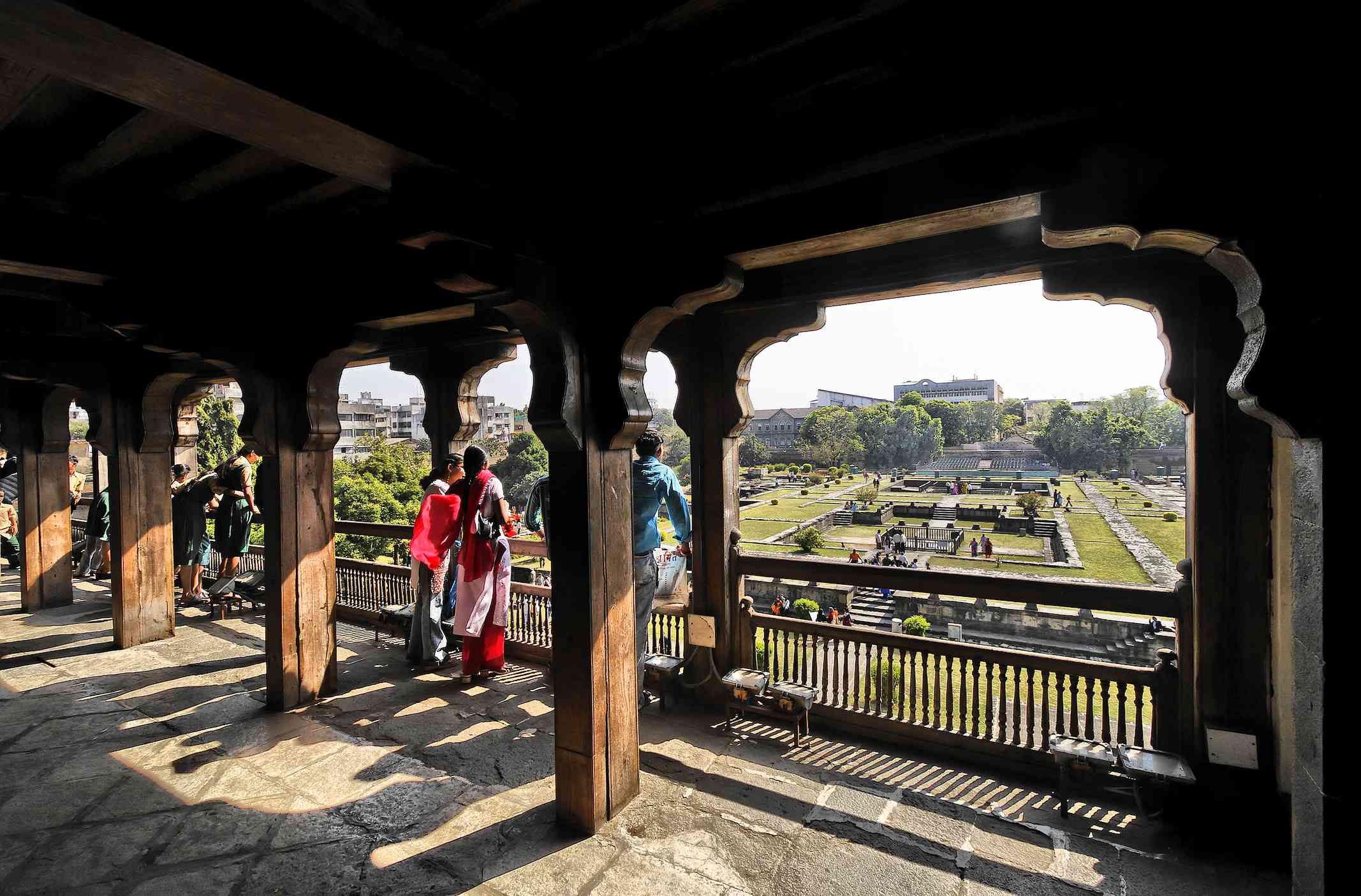 Wooden gallery at Shaniwar Wada in Pune.