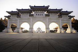 Chiang Kai Shek Memorial Hall sunrise in Taipei, Taiwan