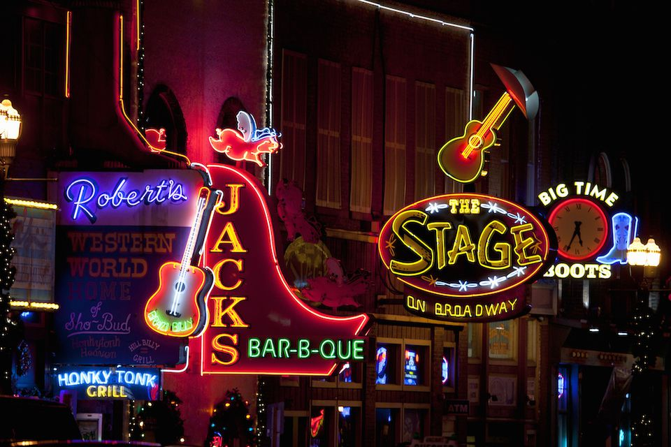 Nashville Honky Tonks at night