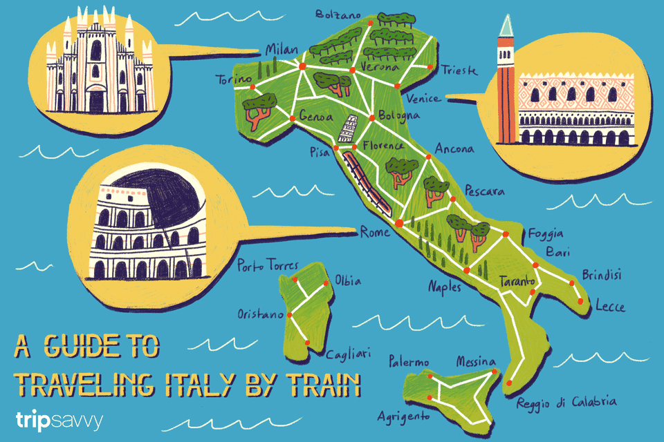 Italy train travel map