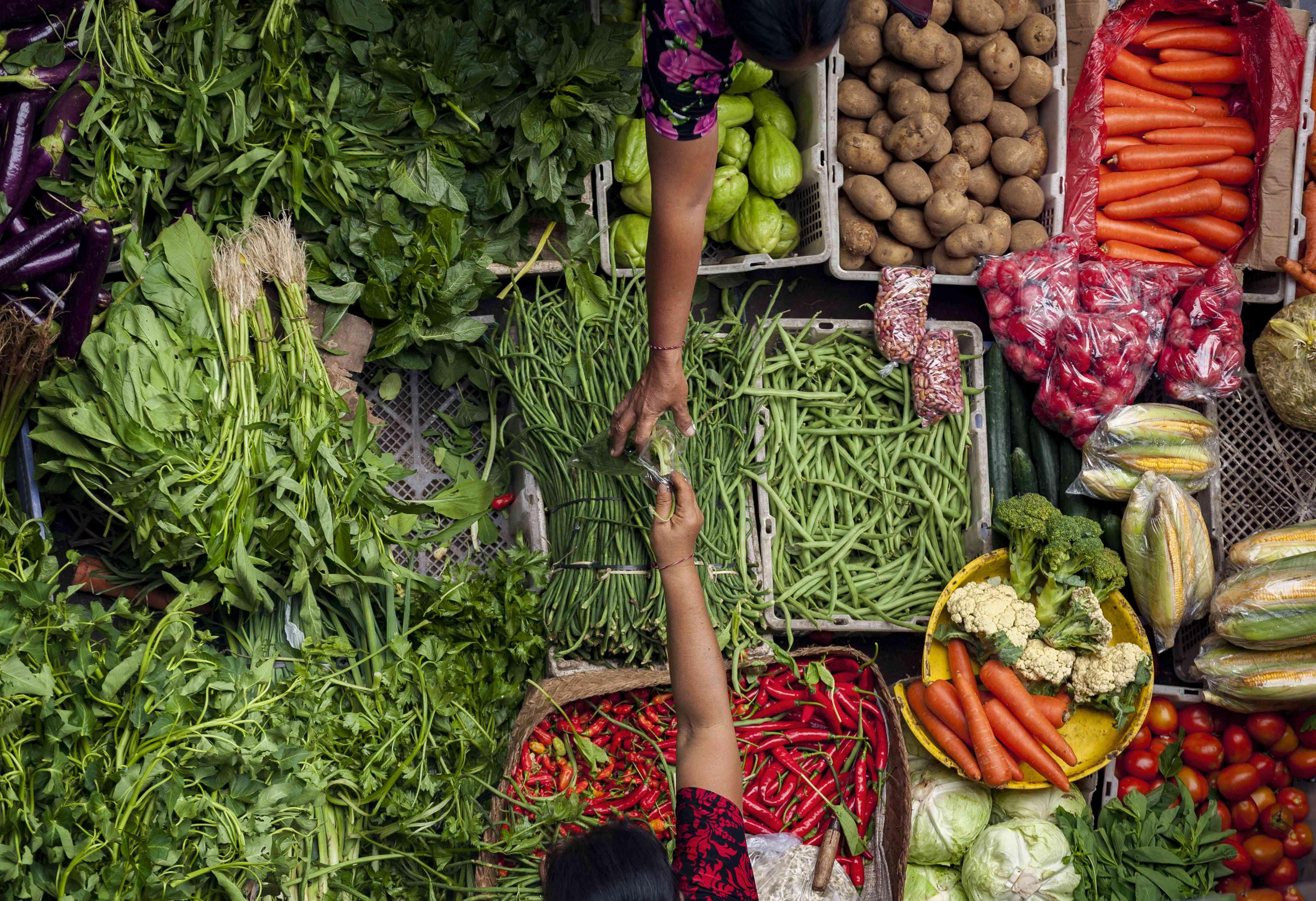 Vegetables at a market in Ubud, Bali