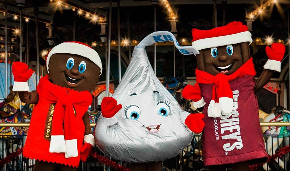 Hershey characters in holiday garb