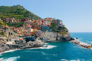 View of colorful Manarola and seaside