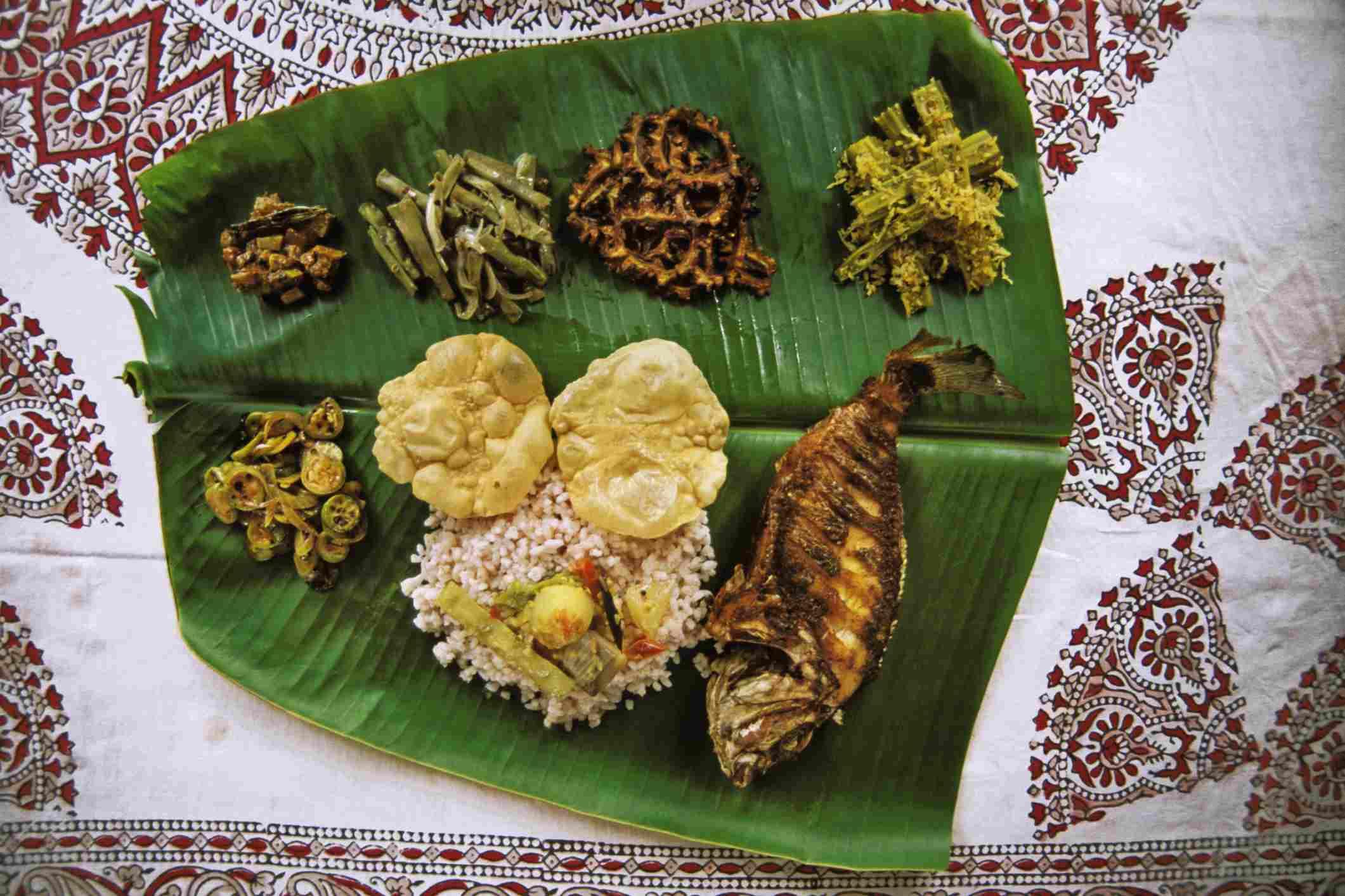 Kerala cuisine, served on a banana leaf.