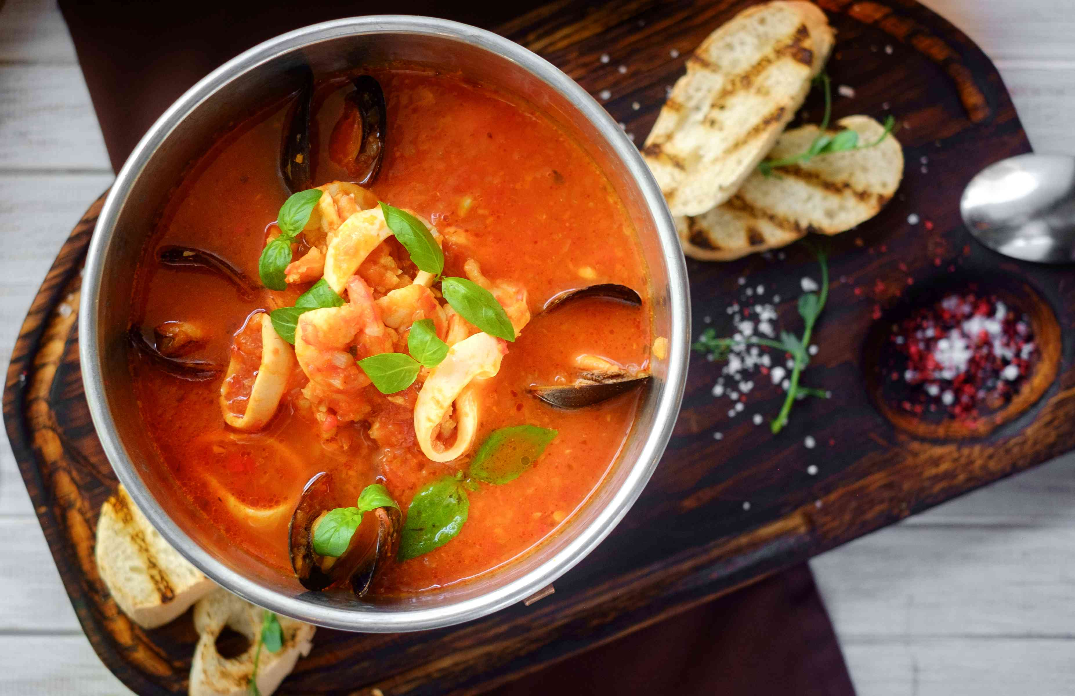 tomato soup with seafood, cacciucco, top view