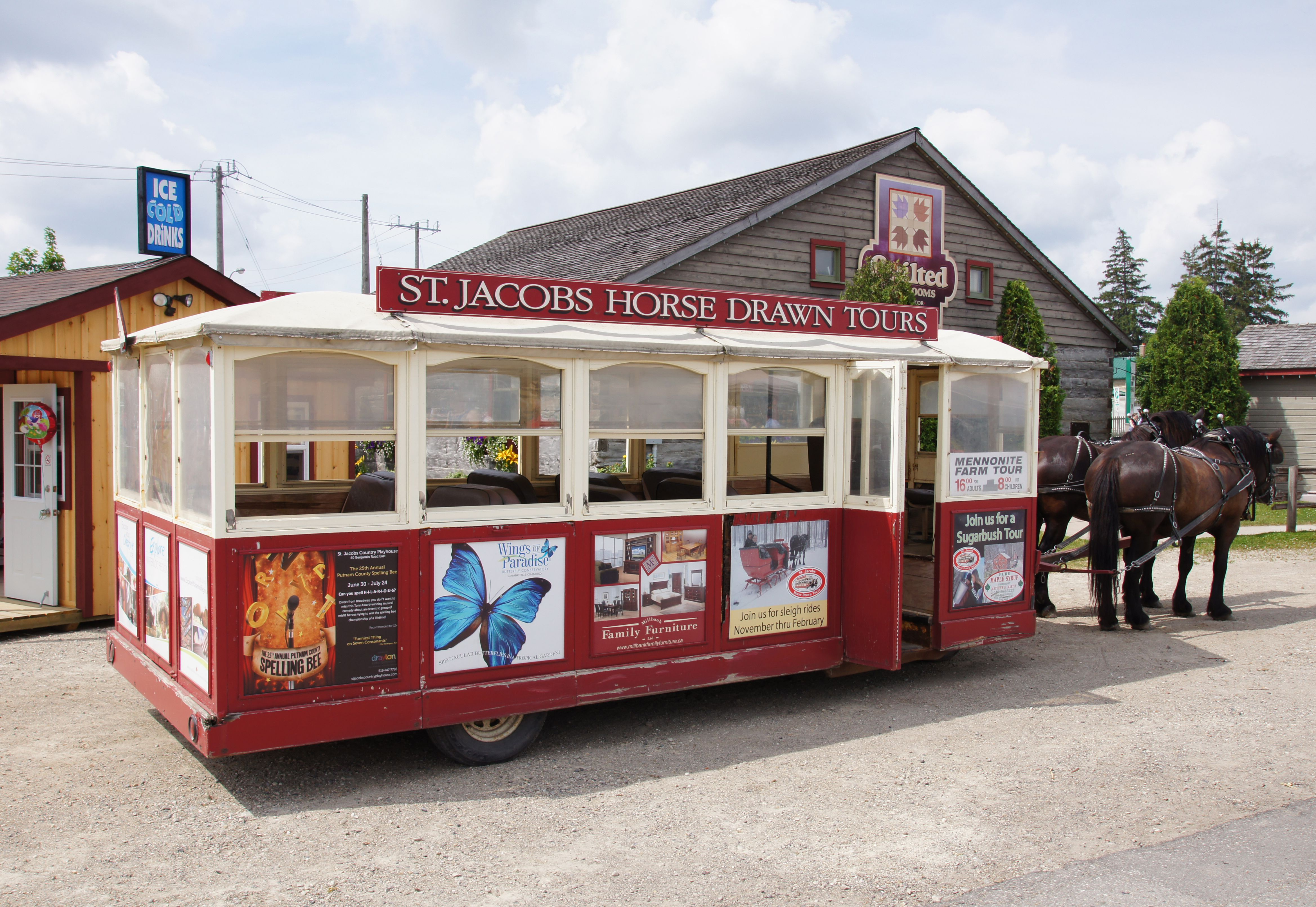 Horse-drawn tour trolley in St. Jacobs