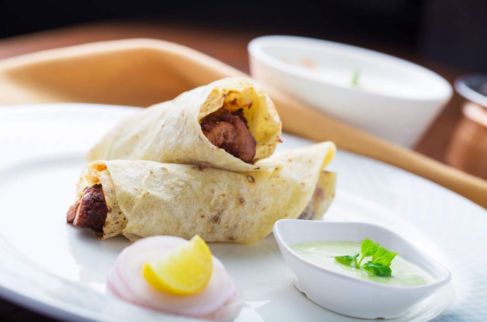 Mutton kebab roll.