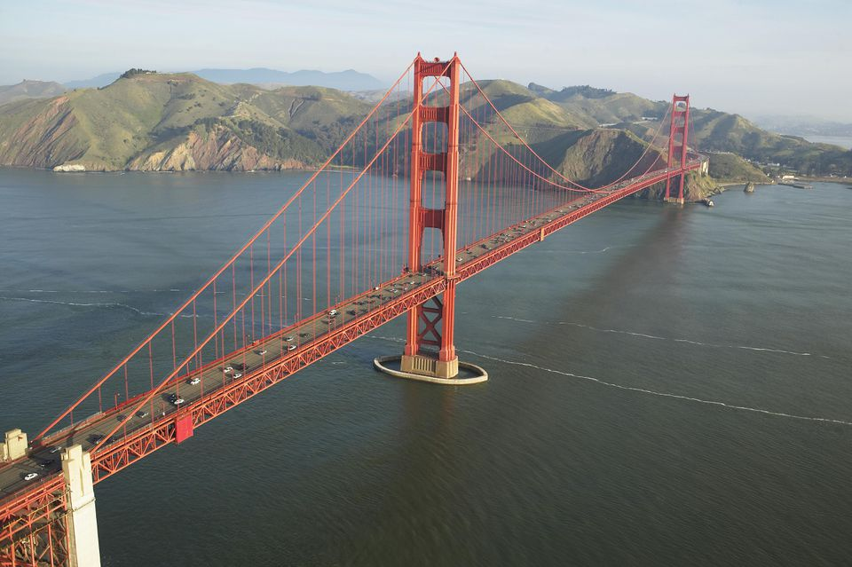 Red-colored suspension bridge, the Golden Gate Bridge in San Francisco, California
