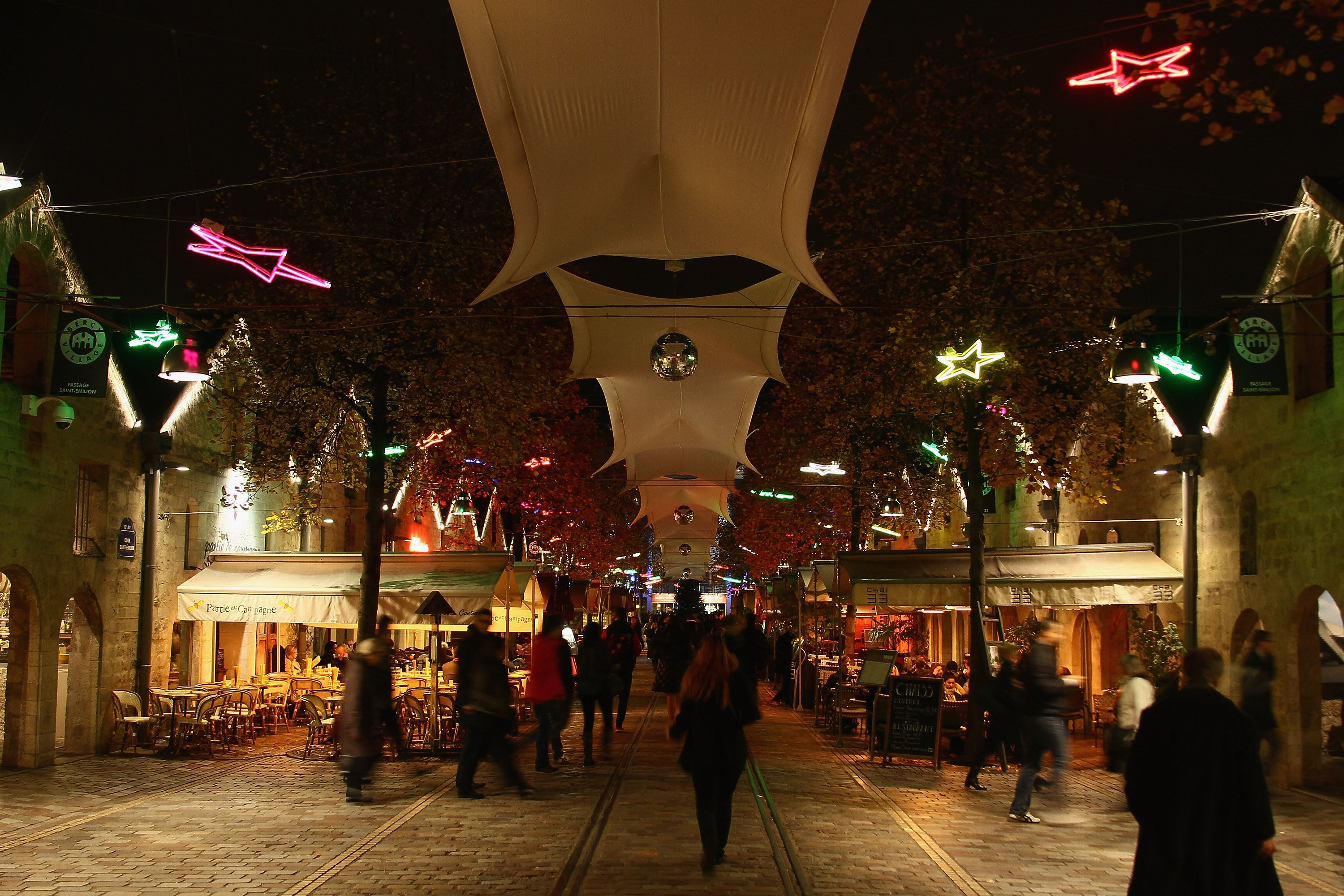 Bercy Village with holiday lights