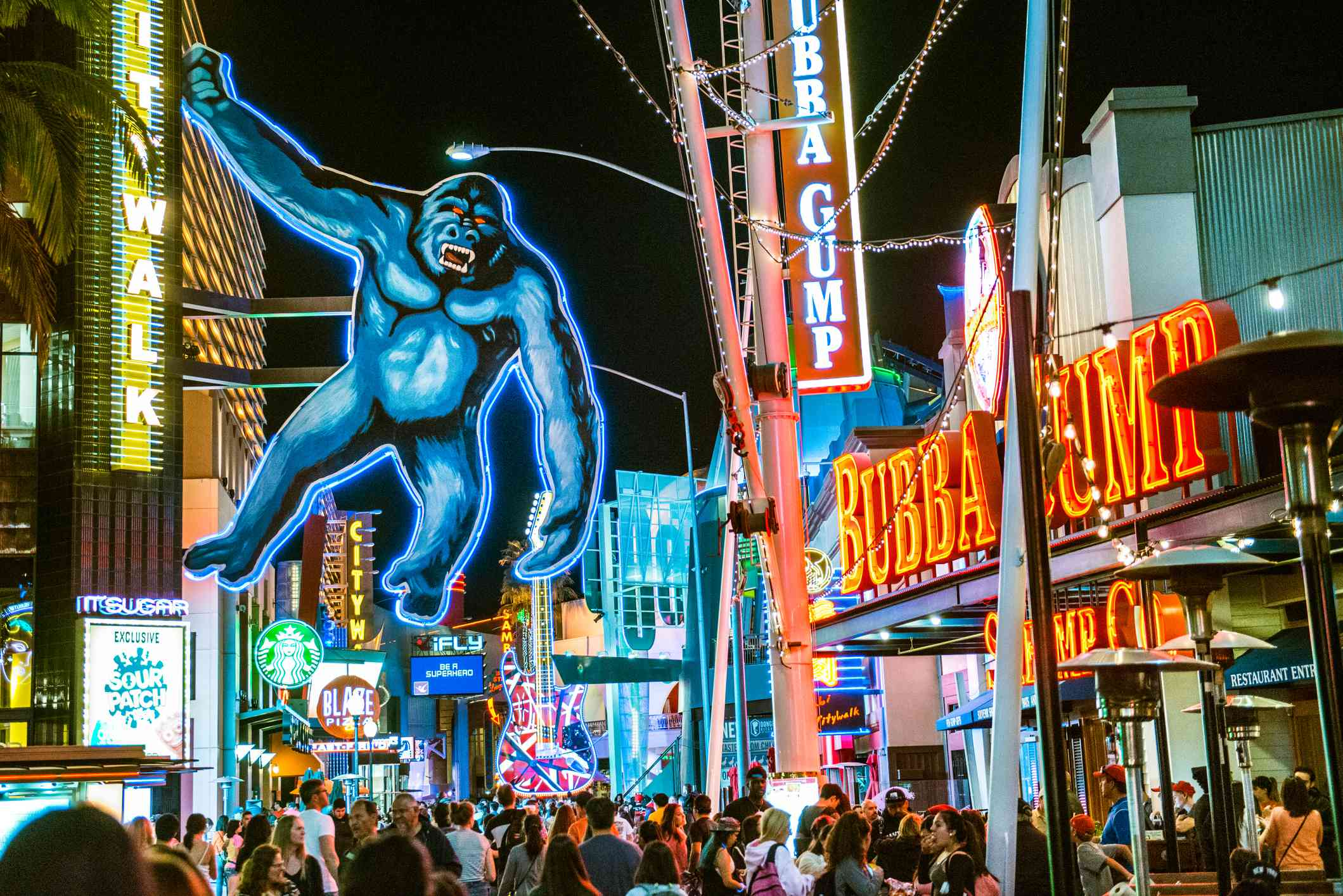 Neon Signs and shops at Universal CityWalk