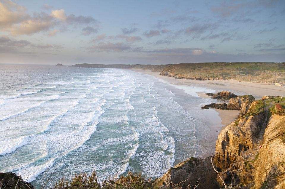 View of a Cornish Beach at sunset