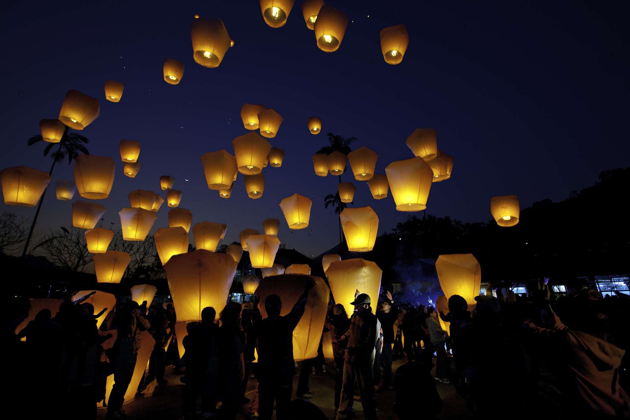 Sky lanterns over Taiwan