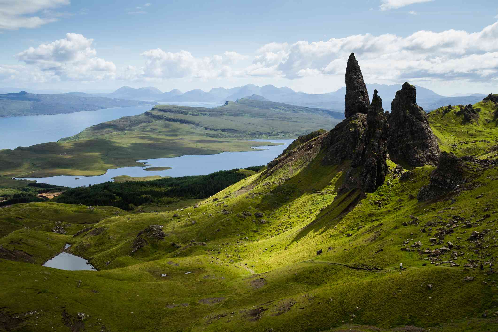 Rock formations and green hills on the isle of skye