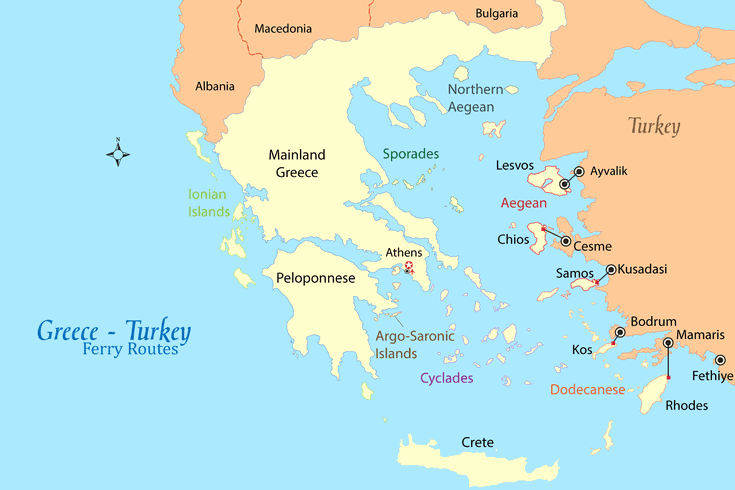 Map Of Greece And Turkey Greece   Turkey Ferry Map and Guide