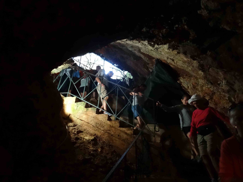 Entering Drogarati Cave on the Greek island of Kefalonia