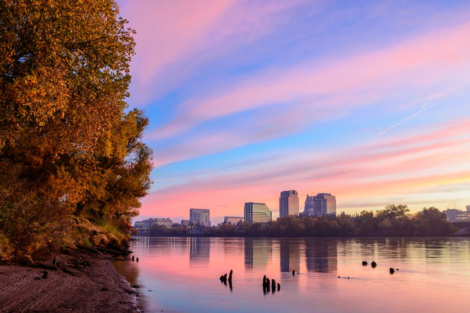 Sacramento skyline over the river at sunrise