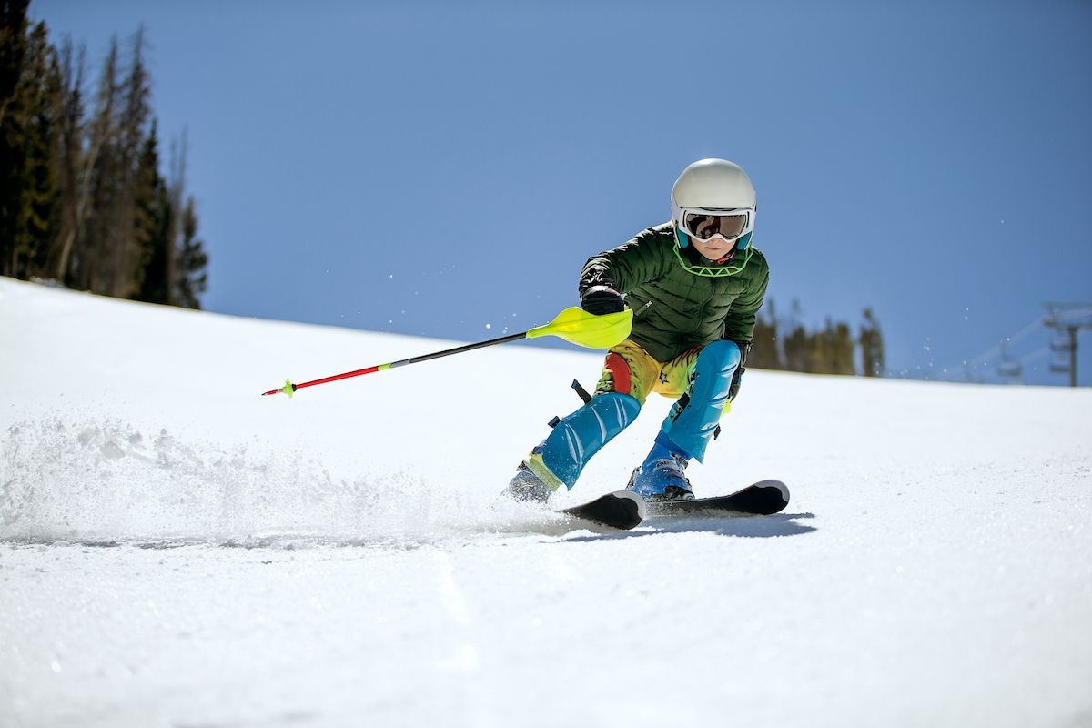A child takes to the snowy slopes in Colorado