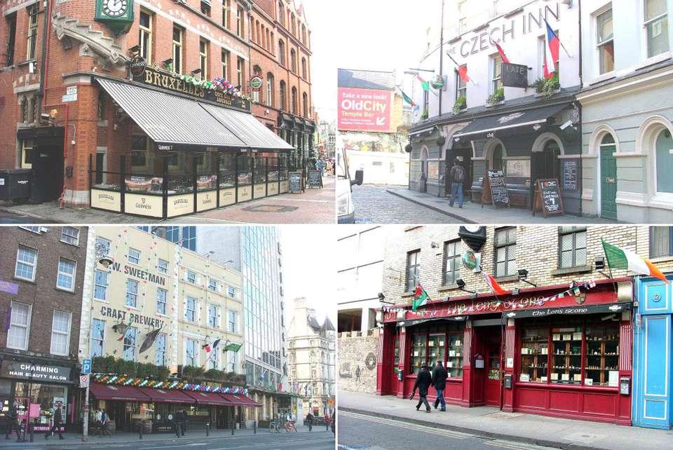 Una imagen compuesta de los pubs más animados de Dublín