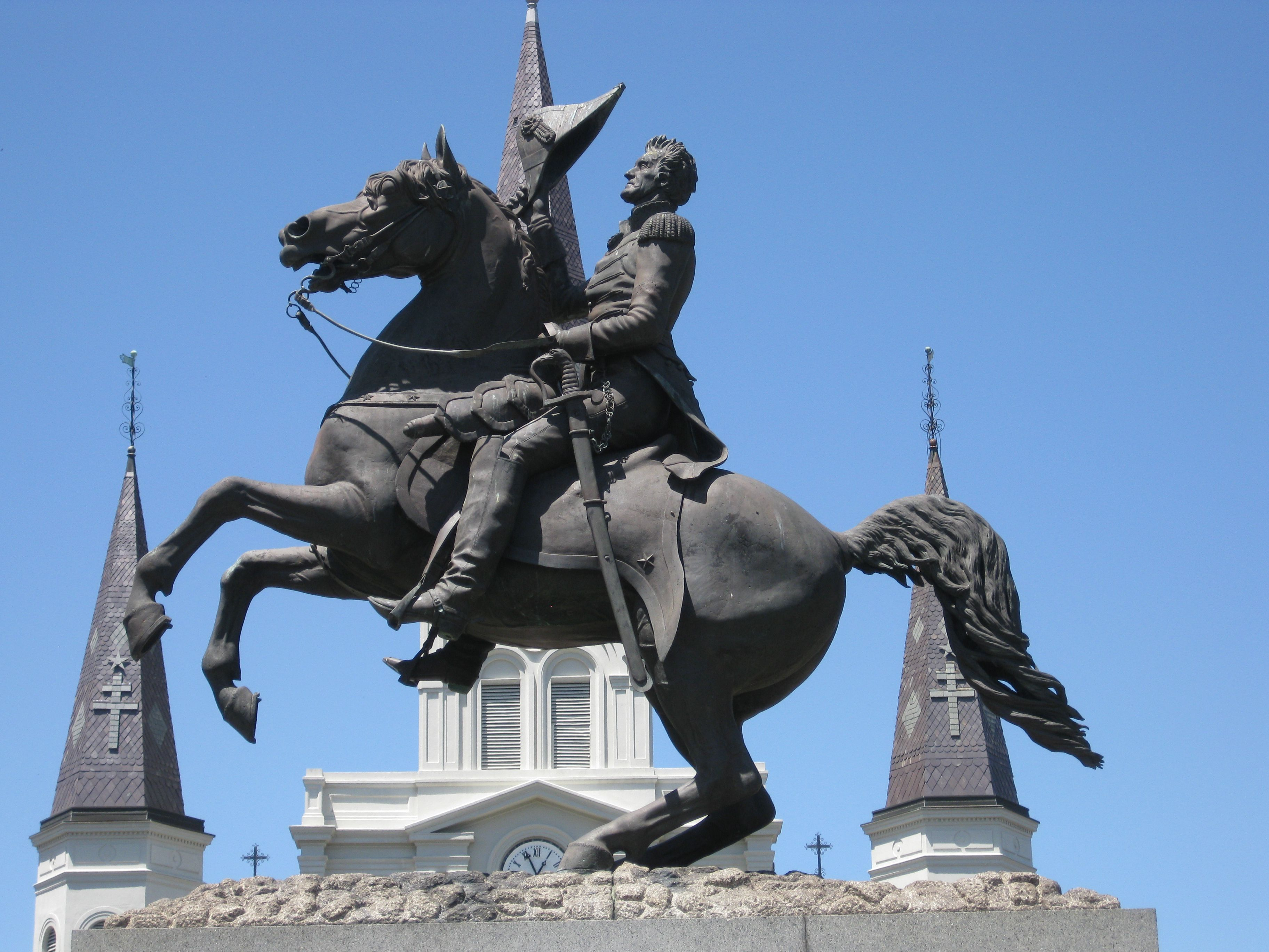 Andrew Jackson in Jackson Square in New Orleans French Quarter