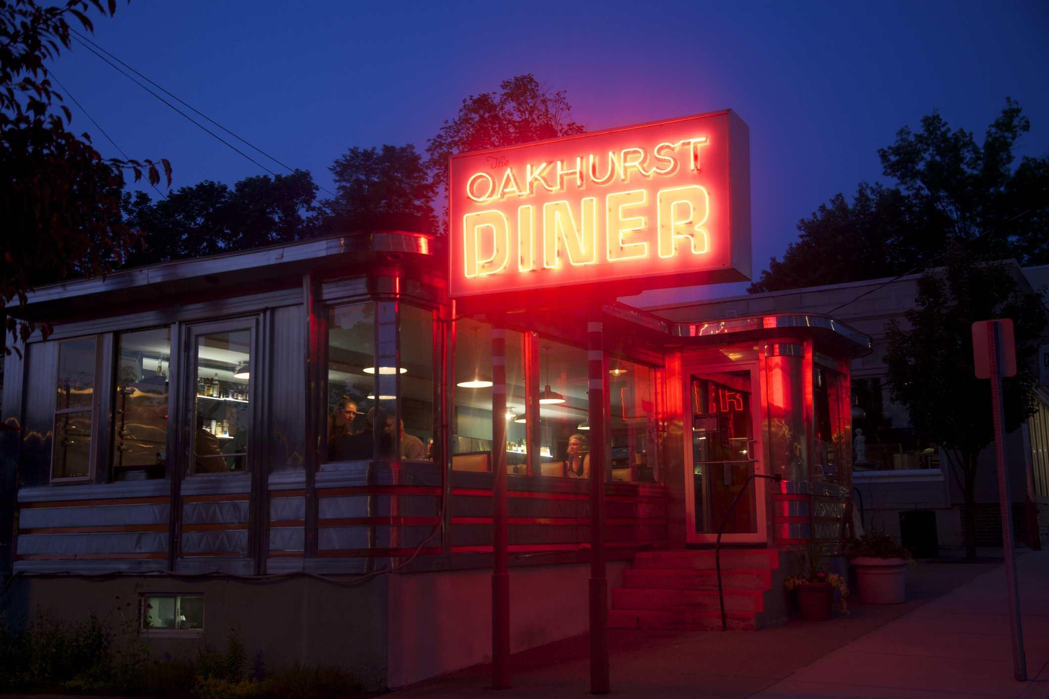Glowing neon of diner sign in Millerton, New York