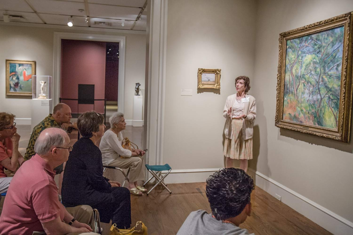 A docent gives an art talk at the LA County Museum of Art