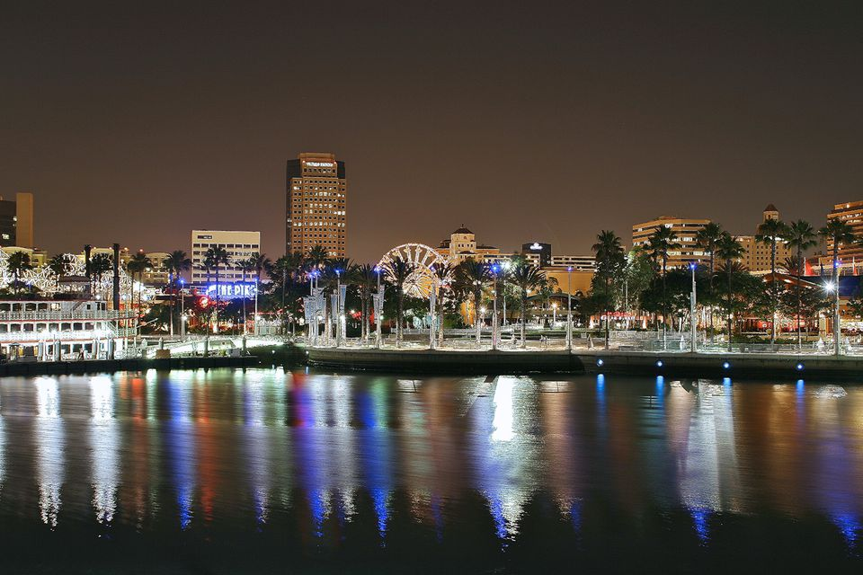 Long Beach at night.