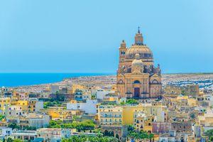 Aerial view of Xewkija with the Rotunda St. John Baptist, Gozo, Malta