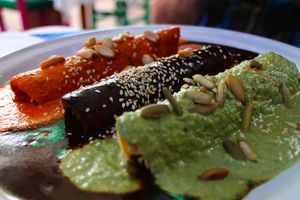 Enchiladas with Red, Black and Green Mole Sauce