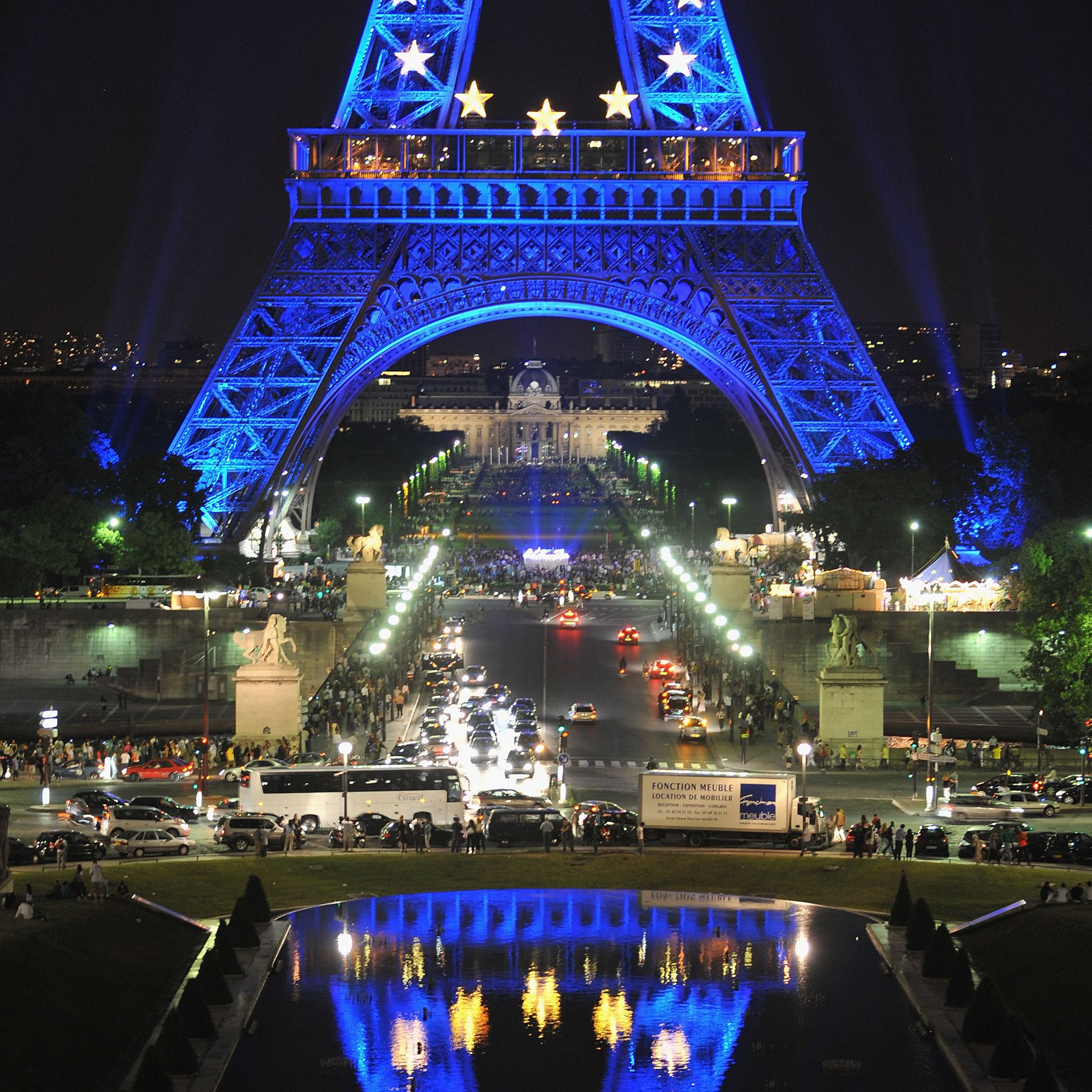 The Eiffel Tower lit with EU colors and insignia in 2008