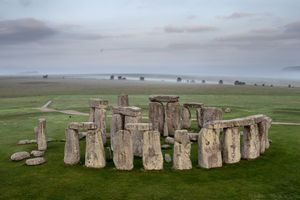 Stonehenge as seen from a hot air balloon