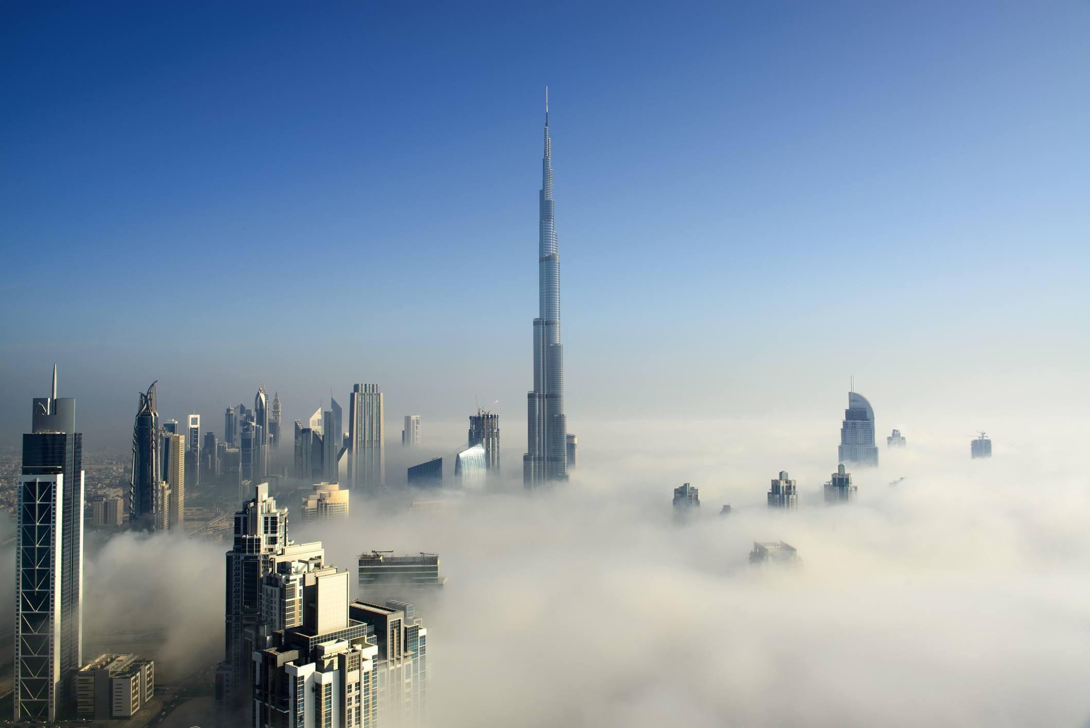 fog across Dubai skyline