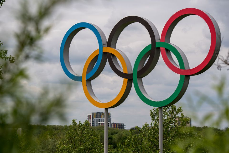 The Olympic rings are seen at Olympic Park