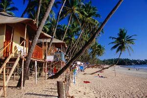 Huts on Palolem beach, south Goa.