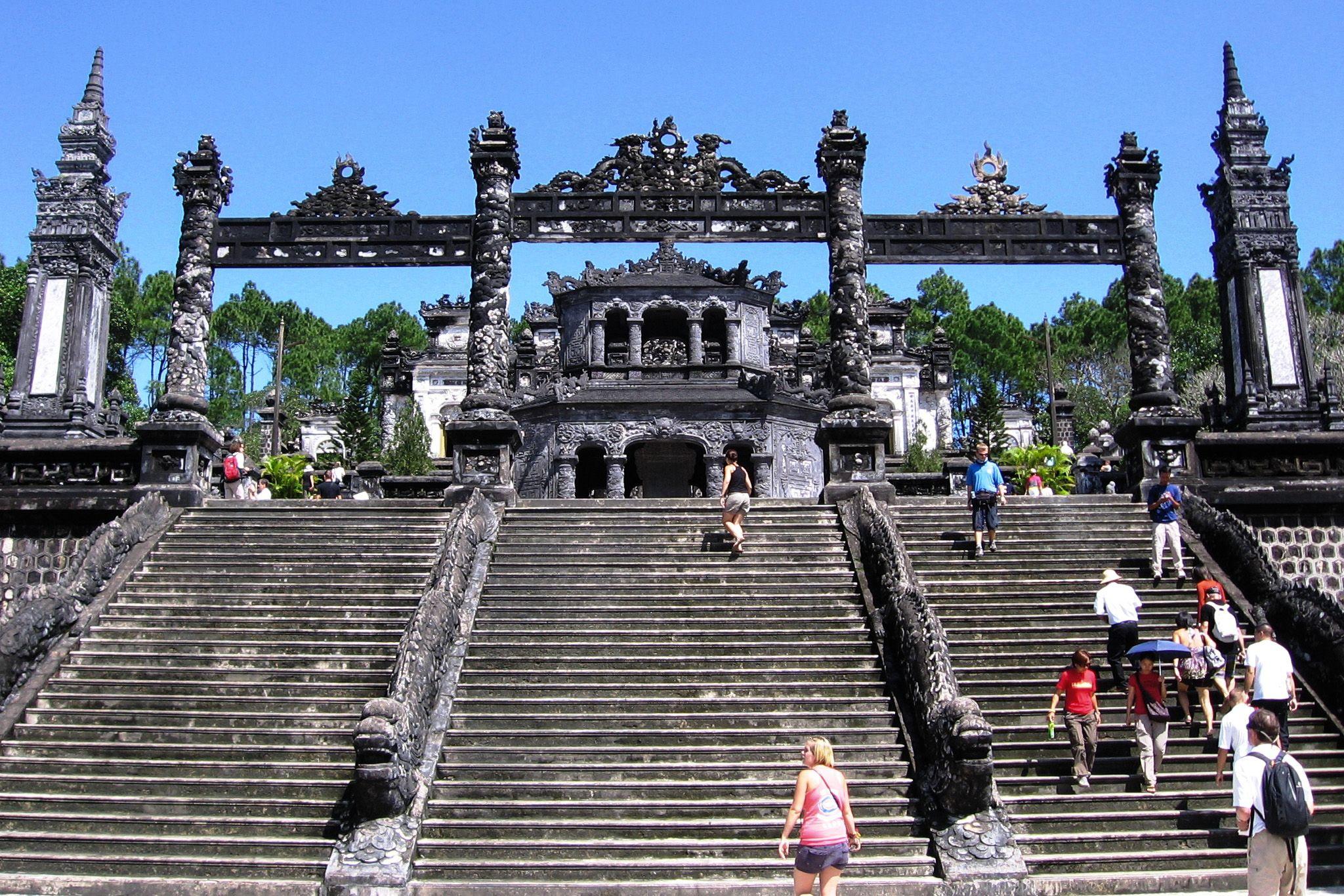 Steps leading up to forecourt, Khai Dinh Royal Tomb, Hue, Vietnam.