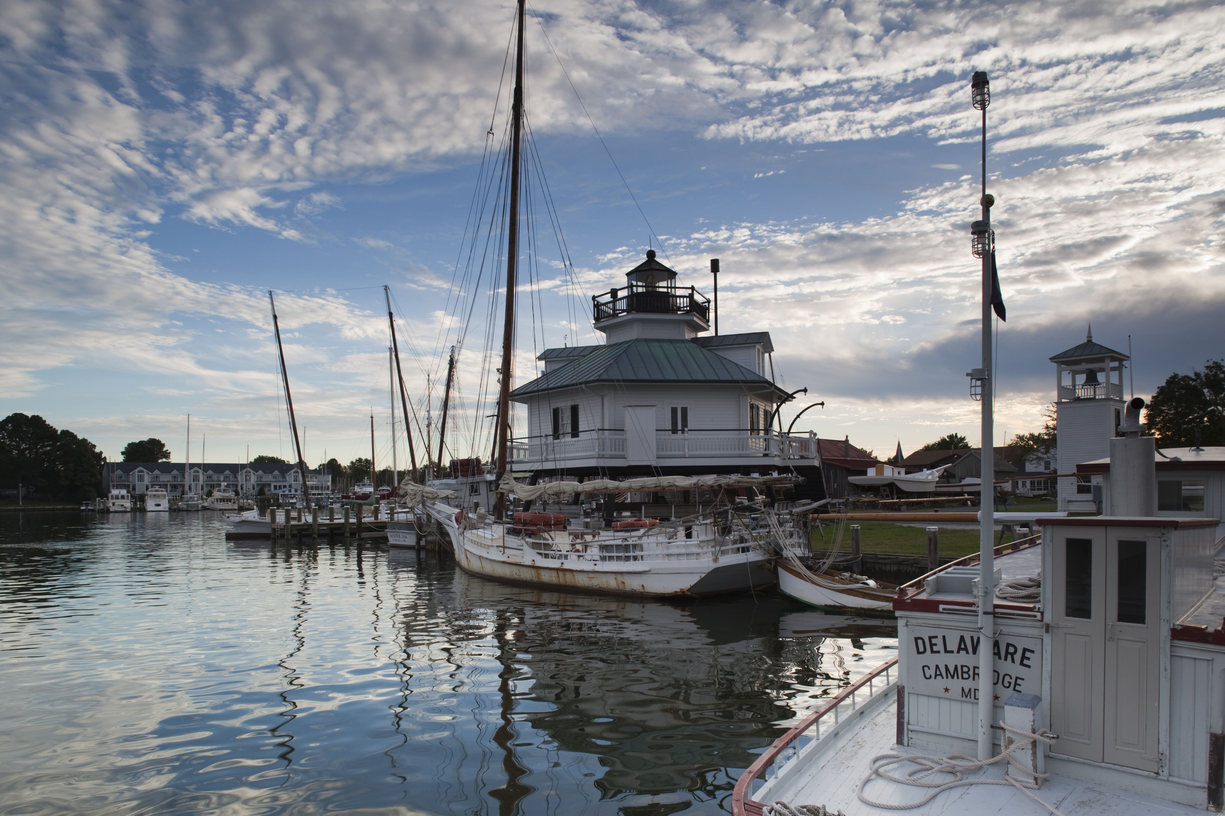 Hooper Straight Lighthouse at dawn, Chesapeake Bay Maritime Museum, St. Michaels, Eastern Shore of Chesapeake Bay, Maryland, USA