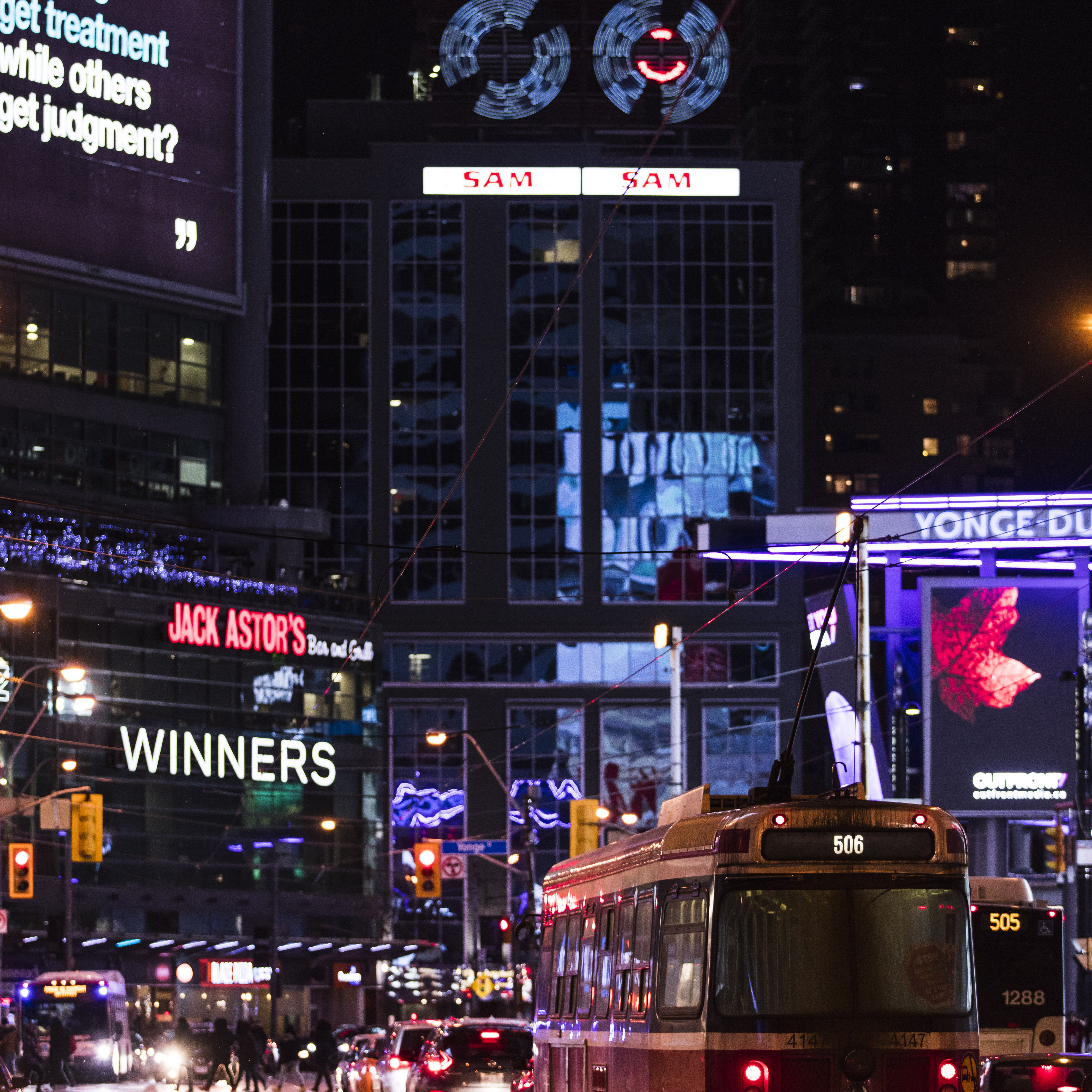 Lights and screens in Yonge Dundas Square