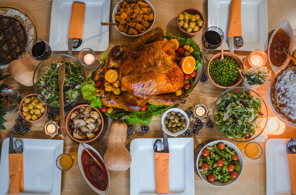 Save to Board Above view of place setting on Thanksgiving day