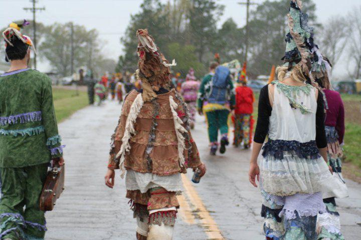 Celebrants in Mardi Gras Costumes, Eunice, LA
