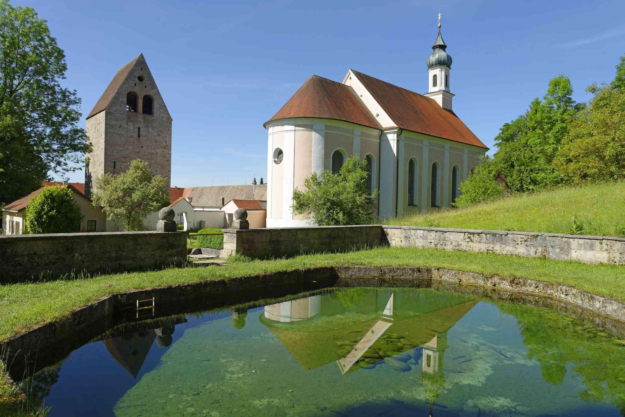 Former monastery Wessobrunn with parish church of St. John Baptist, Wessobrunn, Pfaffenwinkel, Upper Bavaria, Bavaria, Germany