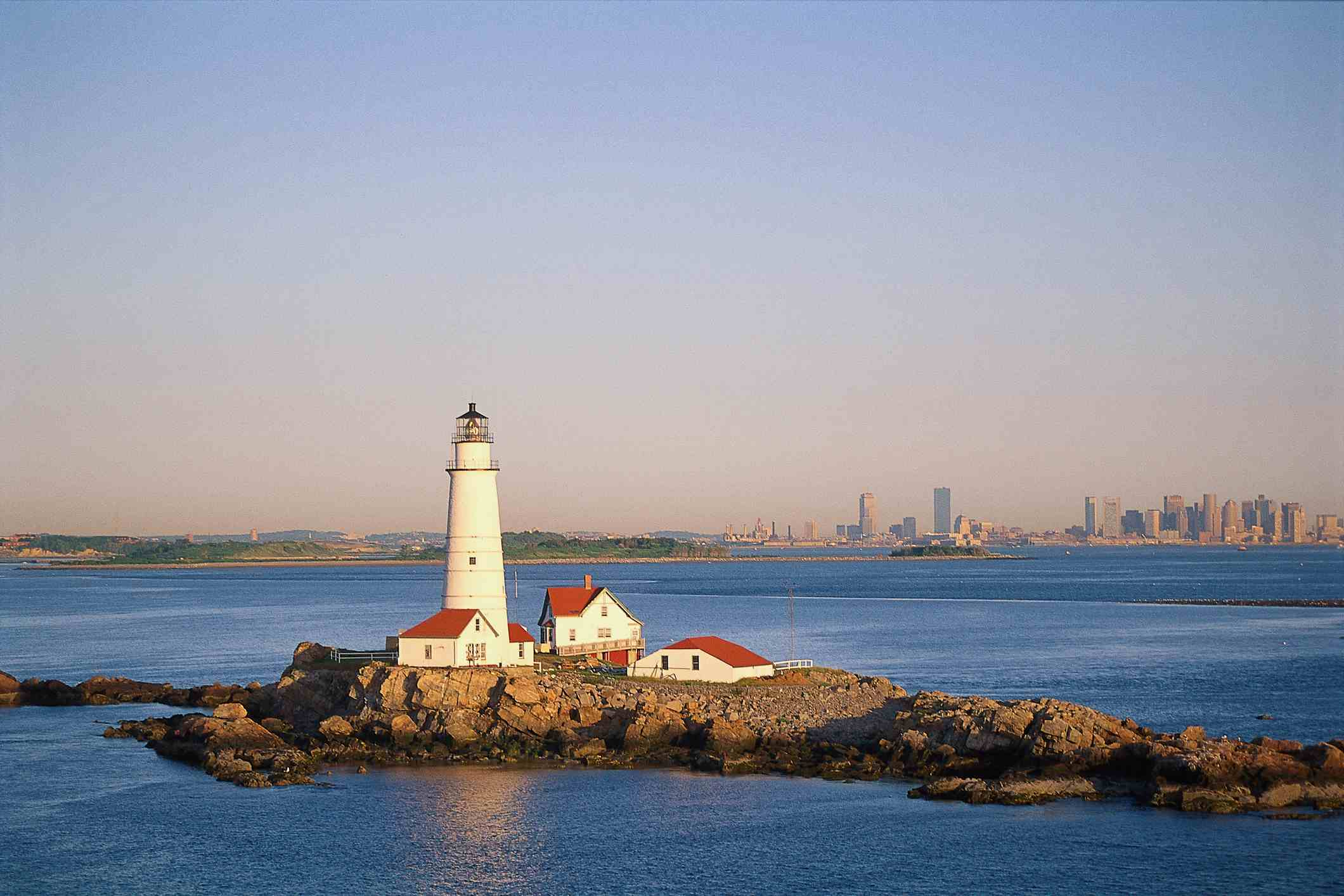 Boston Lighthouse, Boston Harbor, Massachusetts.