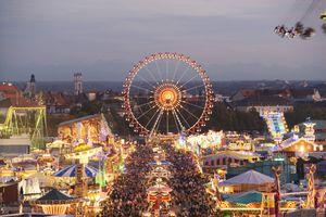 Aerial view of Oktoberfest in Munich, Germany