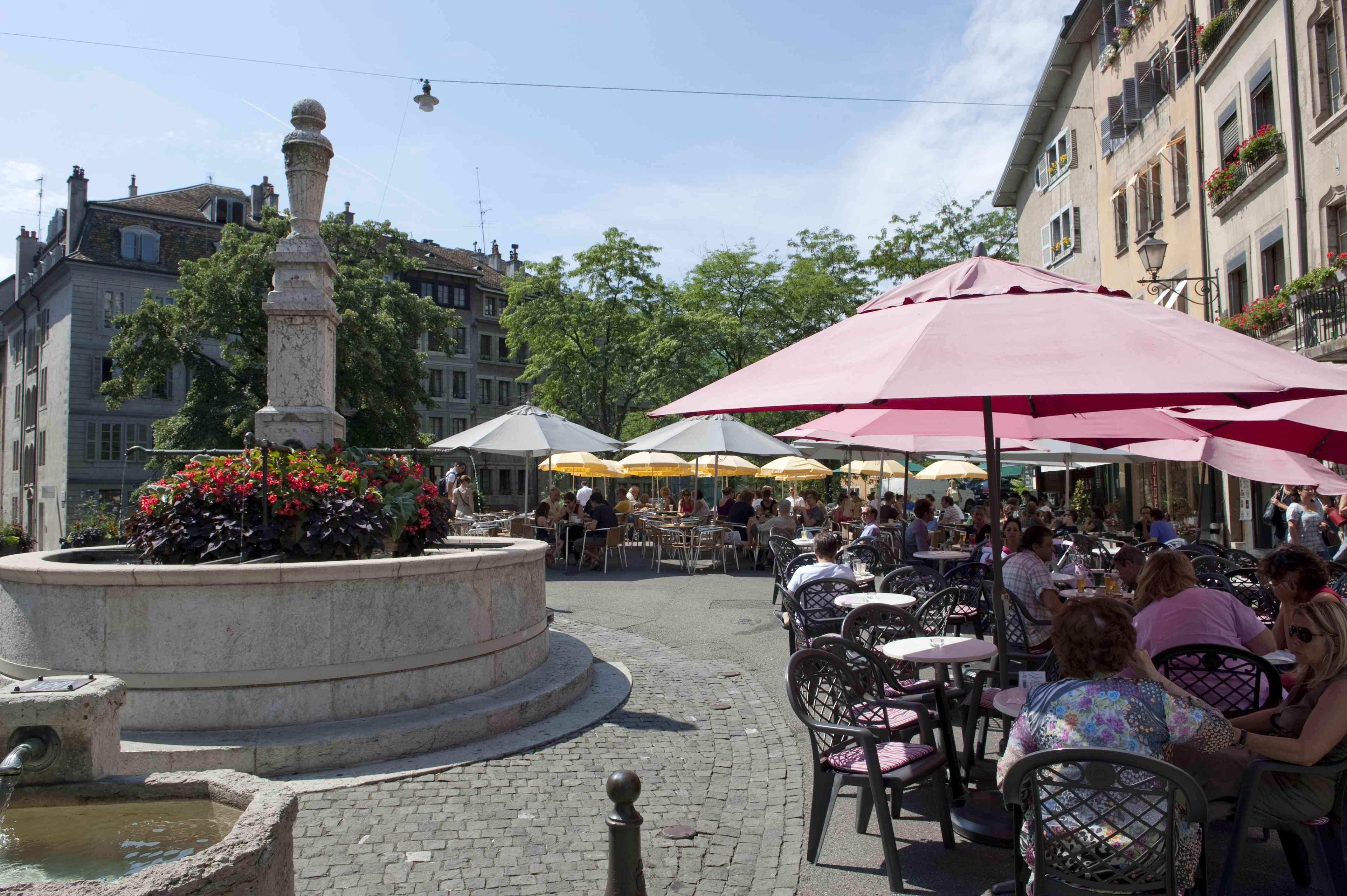 Outdoor cafes with umbrellas, Place Bourg de Four, Geneva
