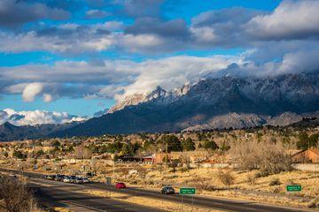 The mountainous landscape outside of Albuquerque