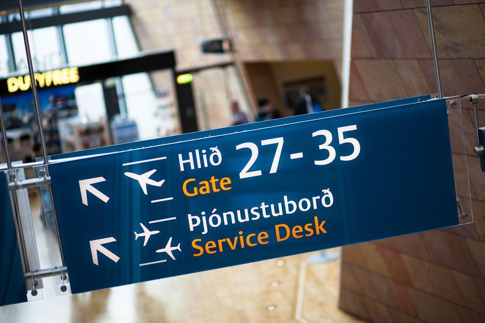 Sign in Keflavik Airport in Reykjavik