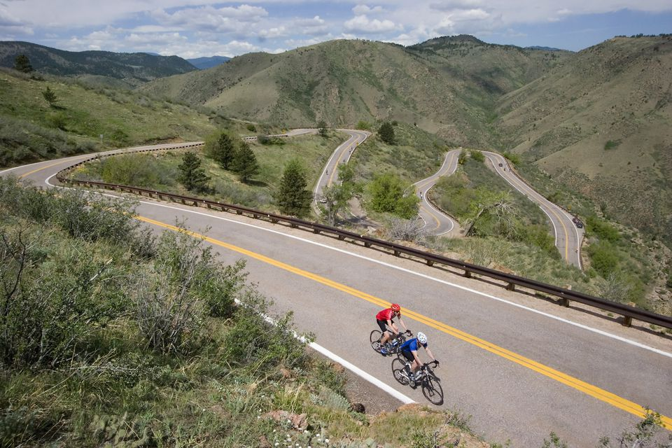 Cyclists on Lookout Mountain Road in Golden, Colorado