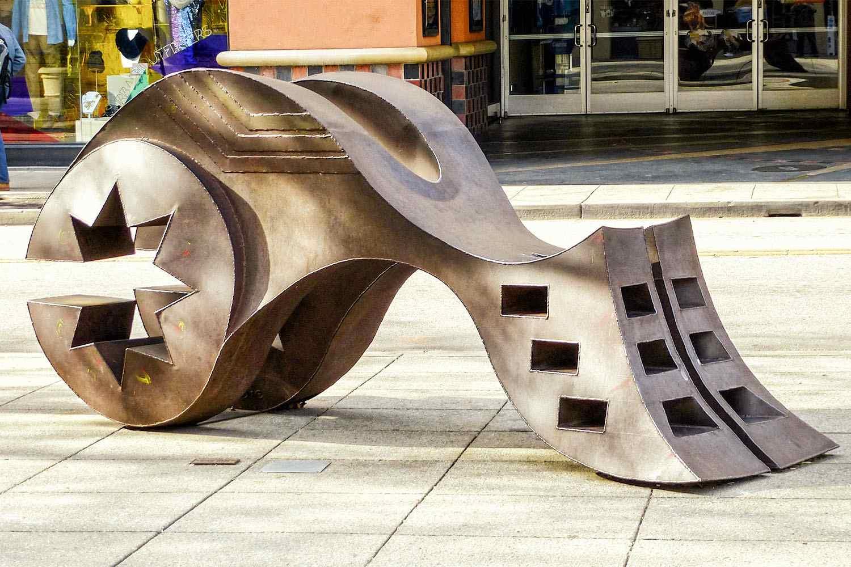 A cor-ten steel sculpture by Harold Moodie, Santa Cruz
