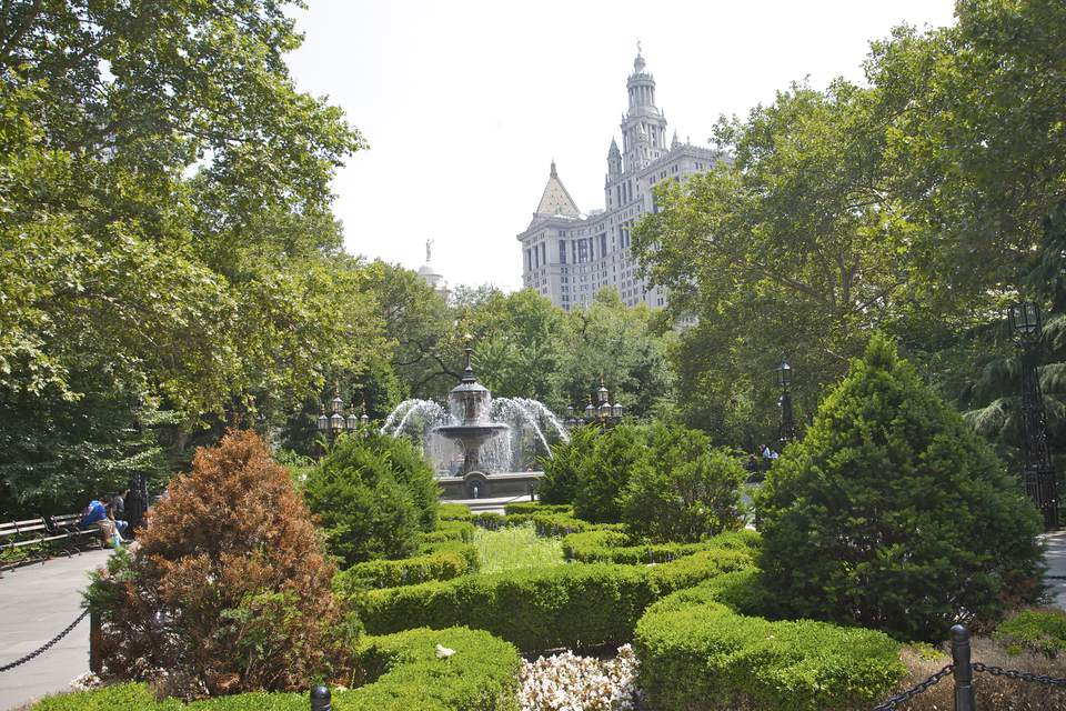 City Hall Park landscape in Civic center Manhattan