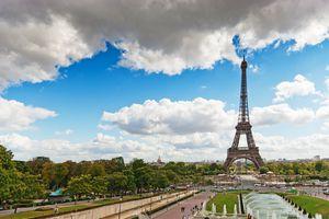 Eiffel Tower viewed through the Trocadero Fountains