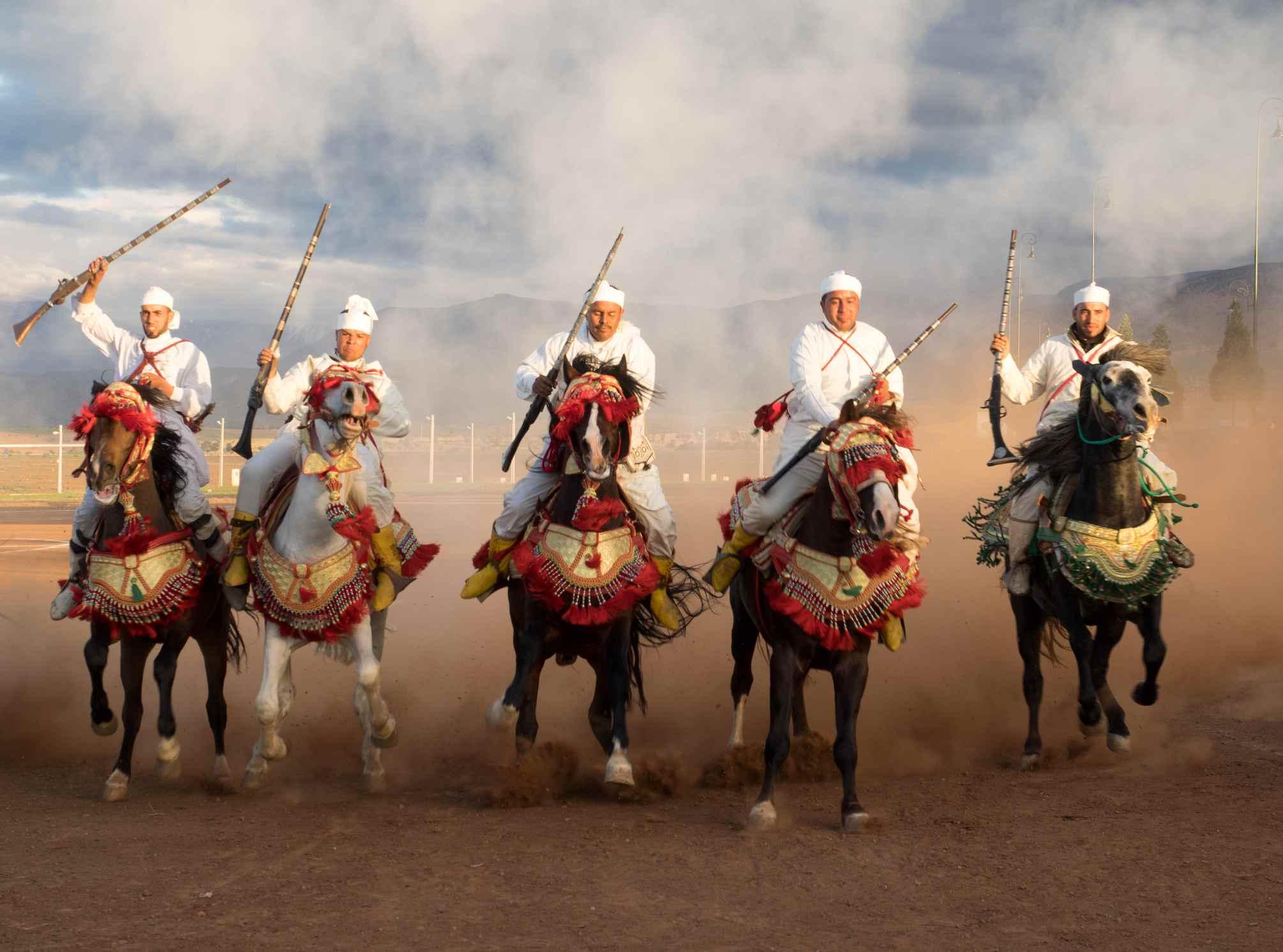Fantasia horsemen, Morocco