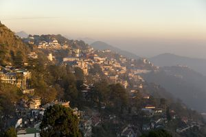 View south from Mussoorie in evening light on foothills of Garwhal Himalaya, Uttarakhand